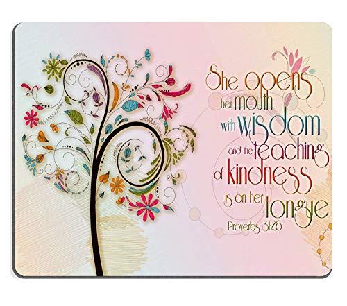 TANGGOOD inspirierende christliche Bibel Vers Proberbs zitiert Mauspad, sie öffnet den Mund mit Weisheit und die Lehre der Güte ist auf ihrer Zunge (200mmX250mmX3mm)