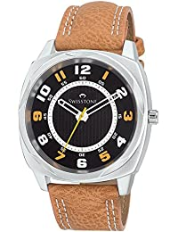 Swisstone FTREK027-BLK-TAN Black Dial Tan Leather Strap Analog Wrist Watch For Men/Boys