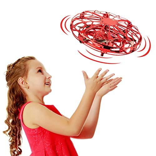 EUTOYZ Kreativ Spielzeug ab 6 Jahre, Spielzeug für Jungen Mädchen 3-10 Jahre, Handgesteuerte Drohne für Anfängerdrohnen mit 2 Schwebegeschwindigkeiten Geburtstagsgeschenk für Jungen 3-10 Jahre(Rot)