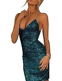 95bb8bcb9a3b iShine Women's Sexy Deep V Neck Badycon Mini Dress Sequin Glitter Stretchy  Party Club Wear Dress