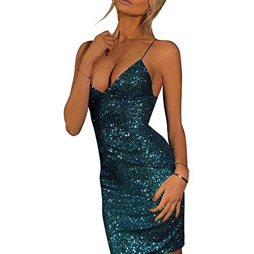 Ishine abito senza maniche corto di donne brillante paillettes mini abito da partito di sera