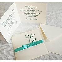 """Partecipazione matrimonio con busta e stampa personalizzata SET da 10 pezzi mod. """"calssic"""""""