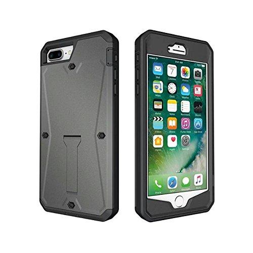 iPhone 7Hülle, Bling Diamant PU Leder Slots Brieftasche Fall Handtasche mit Langen und kurzen Metall Ketten für Apple iPhone 7, Tank Grey (Brieftasche Handtasche Fall)