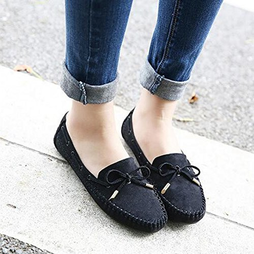 SUNAVY Damen Schmetterling Mokassins Ballerinas,2017 New Mädchen Komfortable Bow Loafers Slippers Halbschuhe Flach Fahren Schuhe(EU 34--EU 43) Schwarz