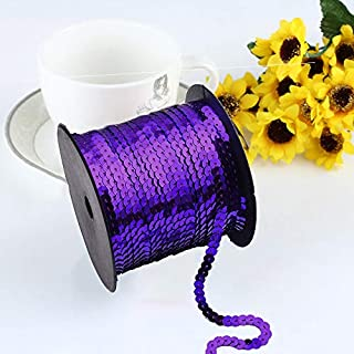 AsentechUK® 1 Roll 6mm Width Exquisite Laser Bright Flat Sequins Ribbon Sewing Craft Webbing DIY Garment Accessory (Purple)