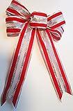 4 Stück große Velourschleife 20 x 30 cm,Geschenkschleife,Dekoschleife Samt, Samtschleife Weihnachtsschleife Weihnachten (Exclusiv Rot-Silber)