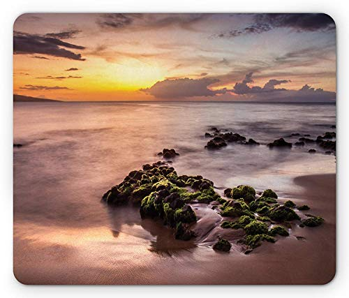 Beach Mouse Pad, Wailea Maui Sunset Warm Sun Rays Dark Clouds Nautical Waterscape Image, Standard Size Rectangle Non-Slip Rubber Mousepad, Warm Taupe Green Yellow