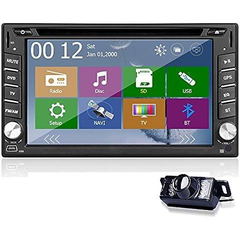 Car Stereo unidad principal coches reproductor de DVD 2 din en el tablero de monitor USB Bluetooth SD Audio CD VCD Receptor de radio RDS Autoradio video motorizado de control remoto logotipo de la
