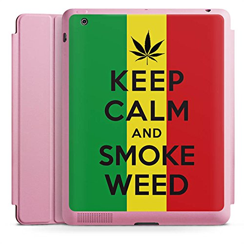 Apple iPad 2 Smart Case rosa Hülle mit Ständer Schutzhülle Keep Calm and Smoke Weed Phrases Sayings (Immer Smoke Weed)