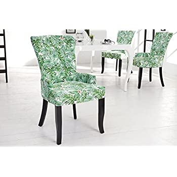 DuNord Design Esszimmerstuhl Sessel DIMENSION PROVENCE Grün Blätter Floral  Barock Design Stuhl