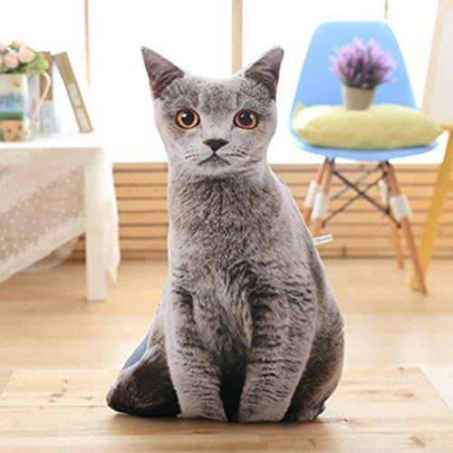 erthome 1 stück Gefüllte 3D Simulation Katze Kissen Lustige Grau Katze Spielzeug Schöne 50 cm (C)