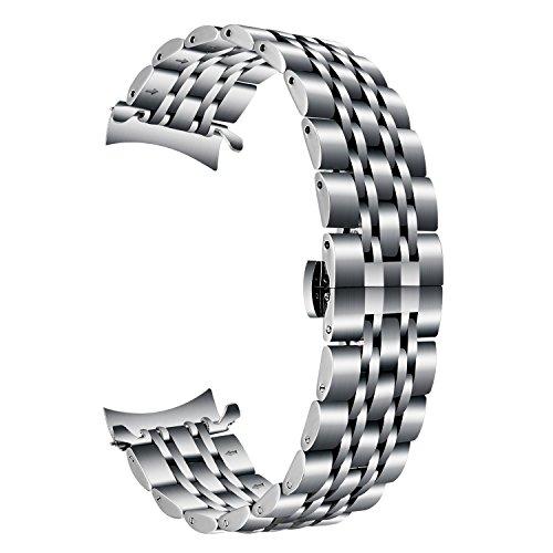 TRUMiRR Armband kompatibel Für Gear S3 Armband, 22mm Edelstahl Armband Curved End Uhrenarmband Schmetterling Schnalle Armband für Samsung Gear S3 Classic/Frontier -