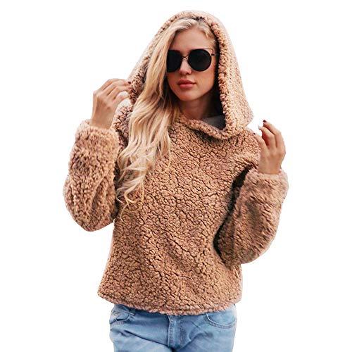 TWIFER Damen Warme Künstliche Wollmantel Pullover mit Kapuze Sweatshirt Winter Parka OberbekleidungWarme Künstliche Wollmantel mit Kapuze Sweatshirt Winter Parka Oberbekleidung