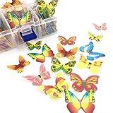 EZIZB 100 Unidades Pastel de Mariposa Postres Adornos de Voda Fiesta Flores Comestibles de Cumpleaños Ducha de Bebé Decoración