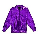 BFD Bomberjacke für Herren und Damen, metallisch, glänzend, leicht, Slim Fit Gr. Medium/Large, violett