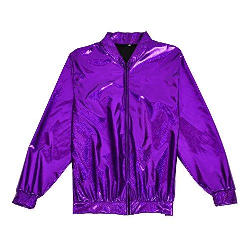 BFD Bomberjacke für Herren und Damen, metallisch, glänzend, leicht, Slim Fit Gr. Small/Medium, violett (Lila Jacke)