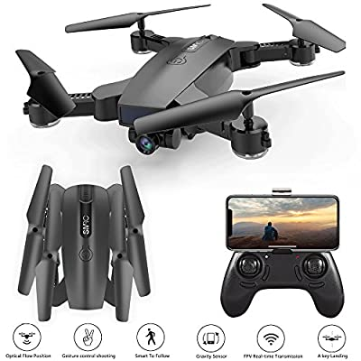 Hotbird Drone With Camera Mini Foldable Selfie Quadcopter Follow me 2MP 120° Wide Angle HD Camera 2.4G Wifi FPV RC Quadcopter Gravity Sensor Altitude Hold 3D Flips Rolls 6-Axis Gyro RTF RC Drones