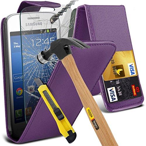 Samsung Galaxy S5 Neo hülle Tasche (Grün + Kopfhörer) Slim-Fit-Abdeckung für Samsung-Galaxie-S5 Neo-hülle Tasche Haltbarer S Linie Wellen-Gel-Kasten-Haut-Abdeckung + mit Aluminium Earbud Kopfhörer, Po PU Flip + glass ( Purple )