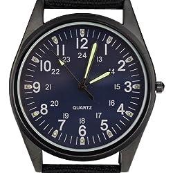 Orkina Ocean Blue Dial Quartz Nylon Canvas Strap Fashion Wrist Watch P104IP-BLU