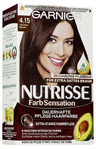 Garnier Haarfarbe (Garnier Nutrisse Creme Coloration Extra Tiramisu Braun 4.15 / Färbung für Haare für permanente Haarfarbe (mit 3 nährenden Ölen), 3er Pack)