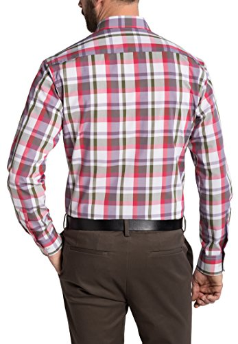 Eterna Long Sleeve Shirt Modern Fit Poplin Checked Lilla/Verde