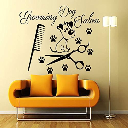 guijiumai Carta da Parati Fai da Te Decalcomanie da Muro Rimovibili Grooming Salon Decal Dog Vinyl Sticker Window Mural Decor Bianco 100x76cm