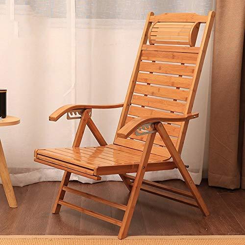MJK Klappstühle, Bambuslehnstühle, Verstellbare Terrassenstühle mit 6 Ebenen für Lounge-Stühle im Freien mit Kissen - 2 Stück Patio Kissen