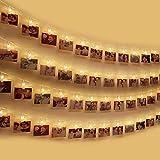 Clip Cadena de Luces LED, otumixx 40 Fotoclips 4,2M Foto Clips Cadena de luces LED Blanco Cálido Batería Adorno Guirnalda Luminosa LED para la ración