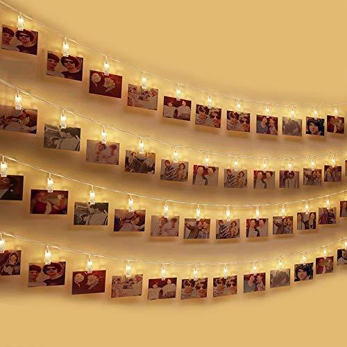 LED Foto Clip Lichterkette , otumixx LED Foto Lichterkette 40 Foto-Clips 4,2 Meter Foto Lichterketten Batteriebetriebene Warmweiß Stimmungsbeleuchtung Dekoration für Hängendes Foto Memos Kunstwerke -