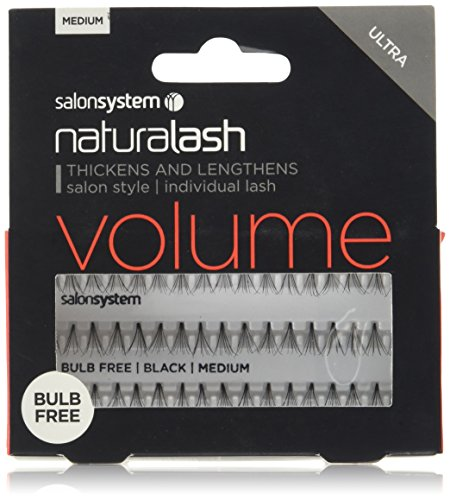 Salon System Individual Bulb Free Ultra Black Medium Flare Lashes