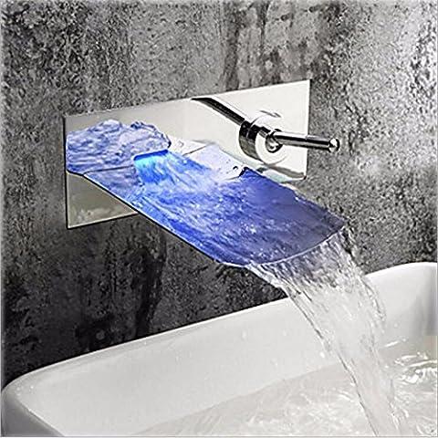 Ssby tout en cuivre encastré LED cascade lavabo robinet Creative Sortie d'eau LED Changement de couleur Cascade de salle de bain Lavabo Robinet