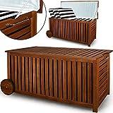 Holz Auflagenbox mit Rädern 117cm AKAZIE Kissenbox Gartenbox Gartentruhe Truhe