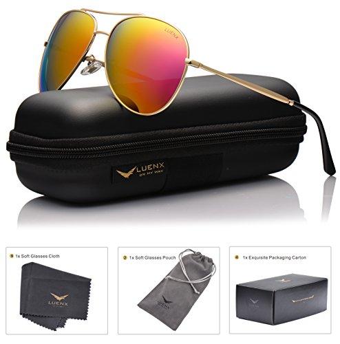 LUENX Damen Aviator Polarisierte Sonnenbrille mit Etui - UV 400 Schutz Spiegel Rot Linse Gold Rahmen 60mm (Jugend-rahmen)