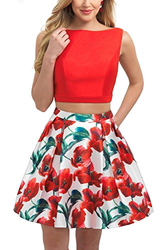 BRLMALL Damen Open Back Two Piece Printed Satin-Heimkehr-Kleid Rot