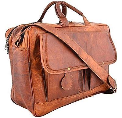 Shakun Leather sac bandoulière vintage fabriqué à la main, cuir chevreau véritable, marron, sac pour ordinateur portable, taille unique