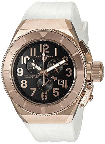 Swiss Legend uomo Trimix Diver bianco silicone Band Steel case Swiss Quartz Watch 13844-rg-01-wht