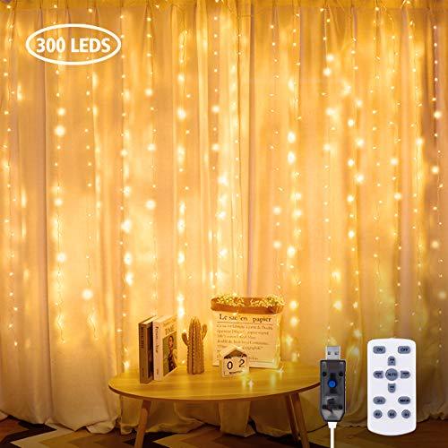 GLIME Lichterketten Vorhang 3x3m Lichtervorhang 300 LEDs Warmweiß Lichterkette Lichterkettenvorhang mit Fernbedienung, Timer, USB, 8 Lichtmodi für Weihnachten, Innen und Außen, Schlafzimmer Deko