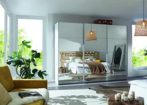 Packs Rauch Kleiderschrank/Schwebetürenschrank Caracas 3-türig. Weiß Alpin mit kompletter Spiegelfront, 4 Einlegeböden, 2 Kleiderstangen, 1 Hakenleiste, BxHxT 271x210x62 cm