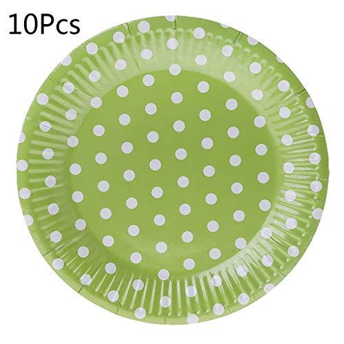 Erisl Geburtstagsparty-Geschirr für Kinder, rosa Geschirr, Babyparty, blau/rot, gepunktet, 10 Stück 18 cm grün (Geschirr Corelle Grün)