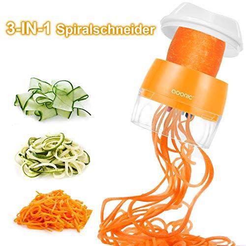ADORIC Spiralschneider Hand [ 3 in 1 ] Gemüse Spiralschneider, Gemüsehobel Gemüsenudeln für Karotte, Gurke, Kartoffel,Kürbis, Zucchini, Zwiebel, Gemüsespaghetti Tastenumschalten.