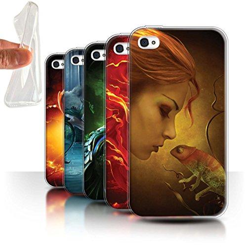 Officiel Elena Dudina Coque / Etui Gel TPU pour Apple iPhone 4/4S / Pack 5pcs Design / Dragon Reptile Collection Pack 5pcs