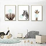Nordic Ideas Set de 3 Posters Animaux Girafe Zèbre éléphant Affiches Decoration Chambre Bebe Tableau Enfants Décorations Murales Impression sur Toile sans Cadre PTANB004-M