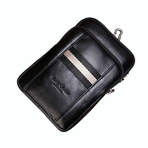 Genda 2Archer Sacchetto di Cinghia Multifunzionale del Daypack del Pelle Spalla Della Spalla Sacchetto di Ganci (12cm*5cm*19cm) (Nero) Nero