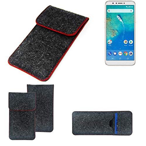 K-S-Trade® Filz Schutz Hülle Für -General Mobile GM 8- Schutzhülle Filztasche Pouch Tasche Case Sleeve Handyhülle Filzhülle Dunkelgrau Roter Rand