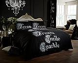 Duvet Cover Set King Size Kingsize With Pillowcases Quilt Bedding Set Reversible Poly Cotton,Sparkle Print Black