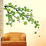 #5: Decals Design 'Green Autumn Leaves Branch' Wall Sticker (PVC Vinyl, 50 cm x 70 cm, Green)