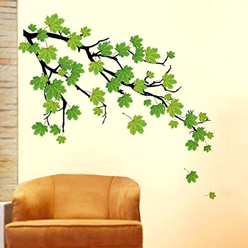 Decals Design 'Green Autumn Leaves Branch' Wall Sticker (PVC Vinyl, 50 cm...
