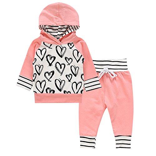 CHIC-CHIC Baby Frühling Kapuzepullover Winter Sweatshirt Bekleidungssets Baumwolle Outfits Neugeborene Pullover Langärmelig Streifen T-Shirt+Hose