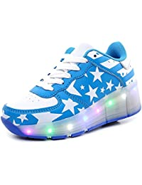 ECOTTISH Niños LED Zapatilla con Ruedas Deporte Patín Ruedas Luminoso Formadores Flying LED Zapatos con Ruedas Niñas Zapato para caminar