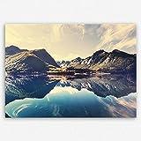 """!!! SENSATIONSPREIS !!! ge-Bildet® hochwertiges Leinwandbild """"Norwegische Berglandschaft"""" Norwegen Natur Berg See - Premium Leinwanddruck 30 x 20 cm einteilig"""